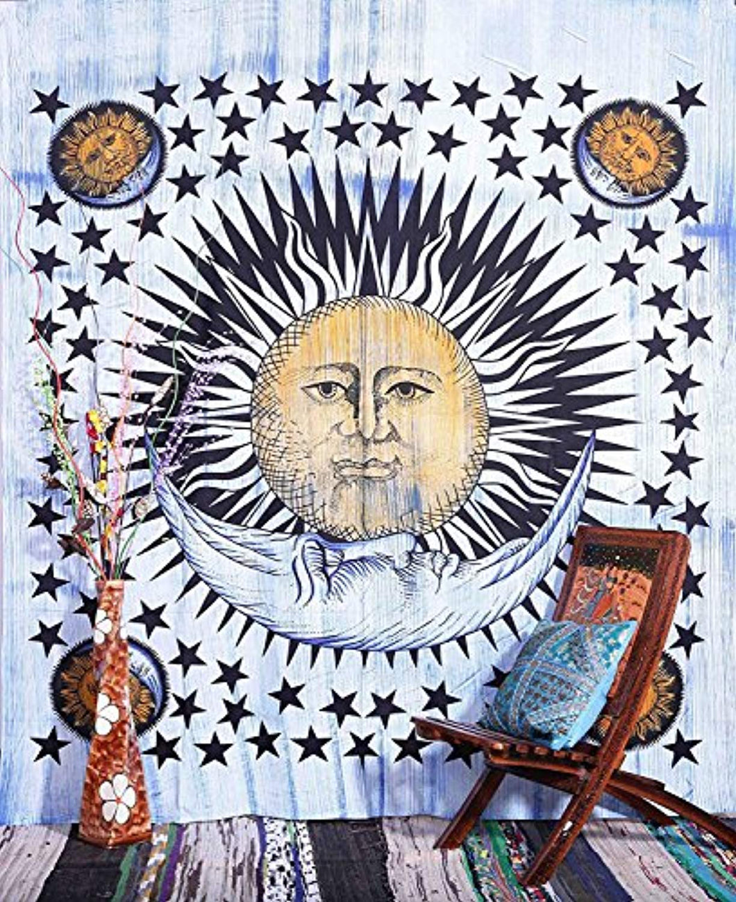 Bright Sun And Stars Décor Tapestry