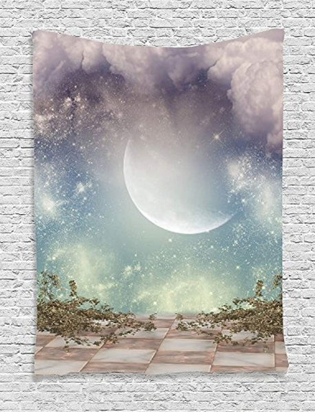 Ambesonne Mystic House Decor Collection, Fantasy Landscape Stars Milky Way Half Moon over the Sky View from Balcony , Bedroom Living Room Dorm Wall Hanging Tapestry, Turquoise Purple