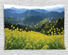 Floral And Lush Green Landscape Décor Tapestry