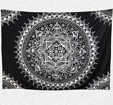 Black And White Trippy Mandala Tapestry