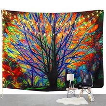Colorful Tree Tapestry Wall Hanging Psychedelic Forest with Birds Wall Tapestry Bohemian Mandala Hippie Tapestry for Bedroom Living Room Dorm
