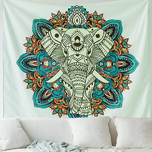 Blue Elephant Décor Tapestry