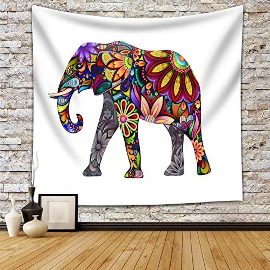 Floral Print Elephant Walking Alone Décor Tapestry
