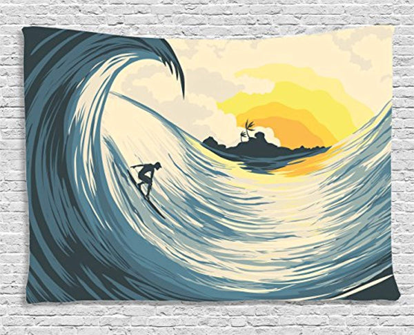 Ambesonne Ocean Decor Tapestry by, Illustration of Cloudy Sky Tropical Island Wave and Surfer At Sunset Seascape, Wall Hanging for Bedroom Living Room Dorm, 60 W X 40 L Inches, Beige Yellow and Navy
