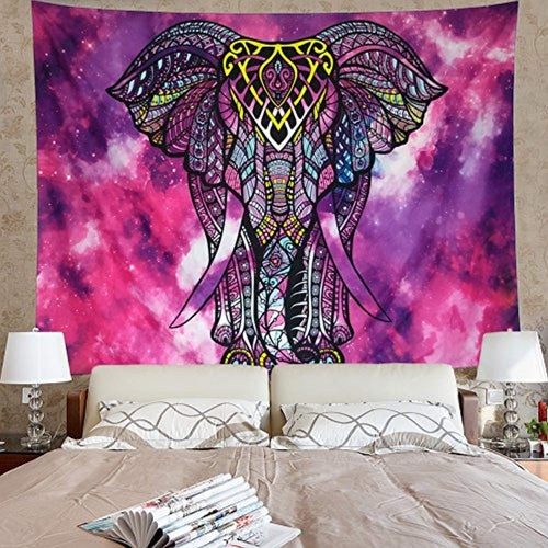 Beautiful Purple And Pink Elephant Décor Tapestry