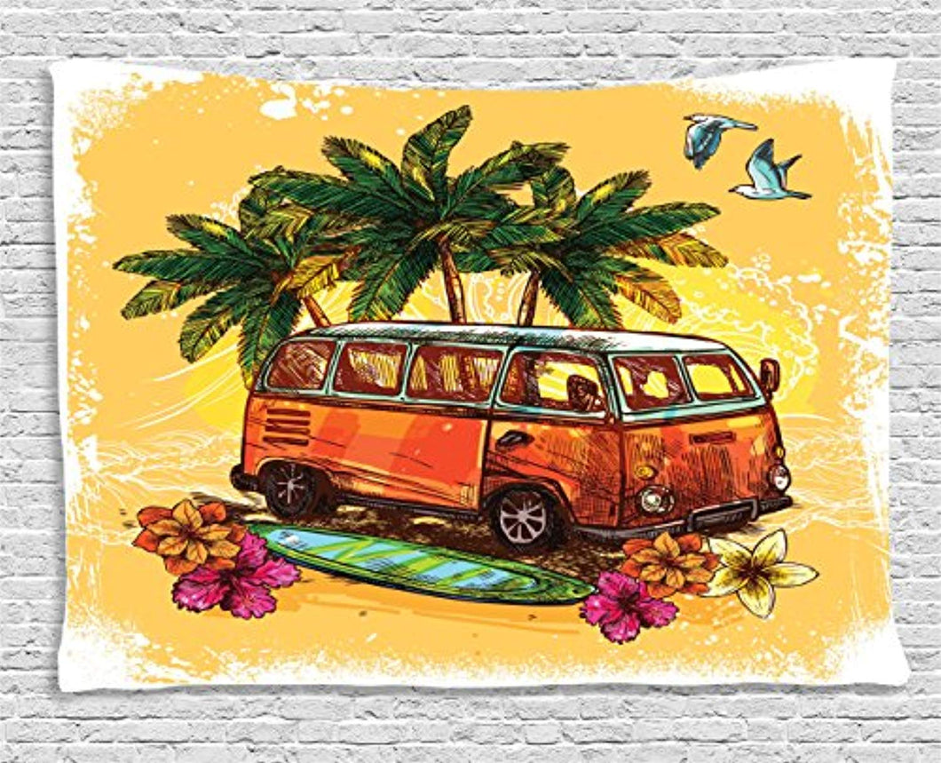 Classic Travel Bus By The Beach Décor Tapestry
