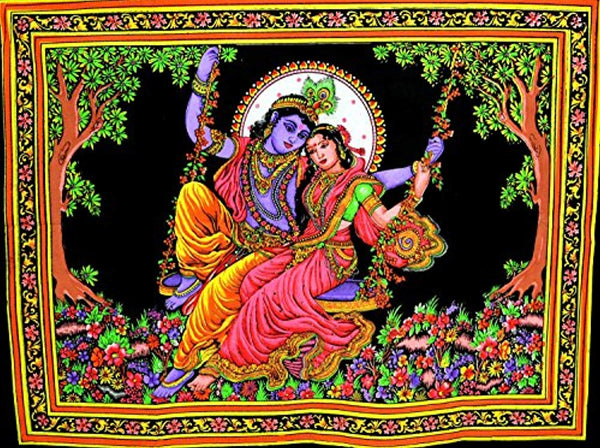 Krishna Radha Sequence Style Tapestry