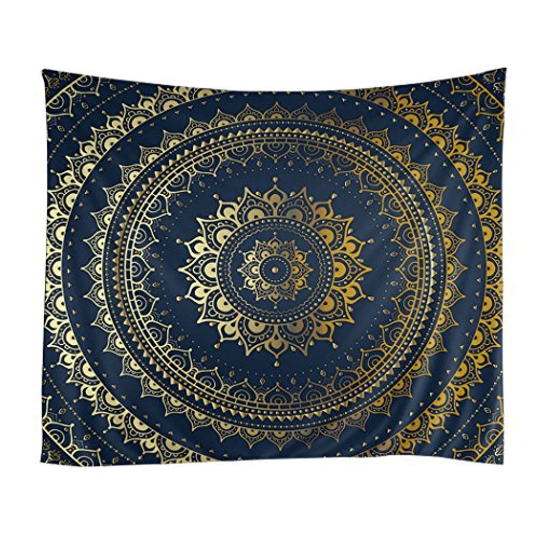 Golden Floral Pattern Mandala Décor Tapestry