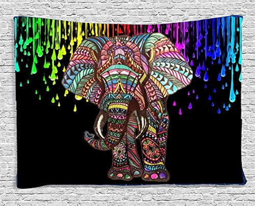 Water Color Rainbow Elephant Décor Tapestry