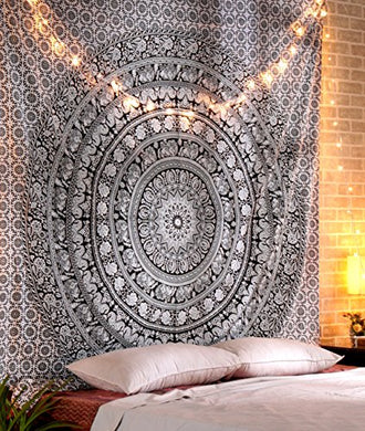Black and White Indian Mandala Wall Hanging Elephant Tapestry