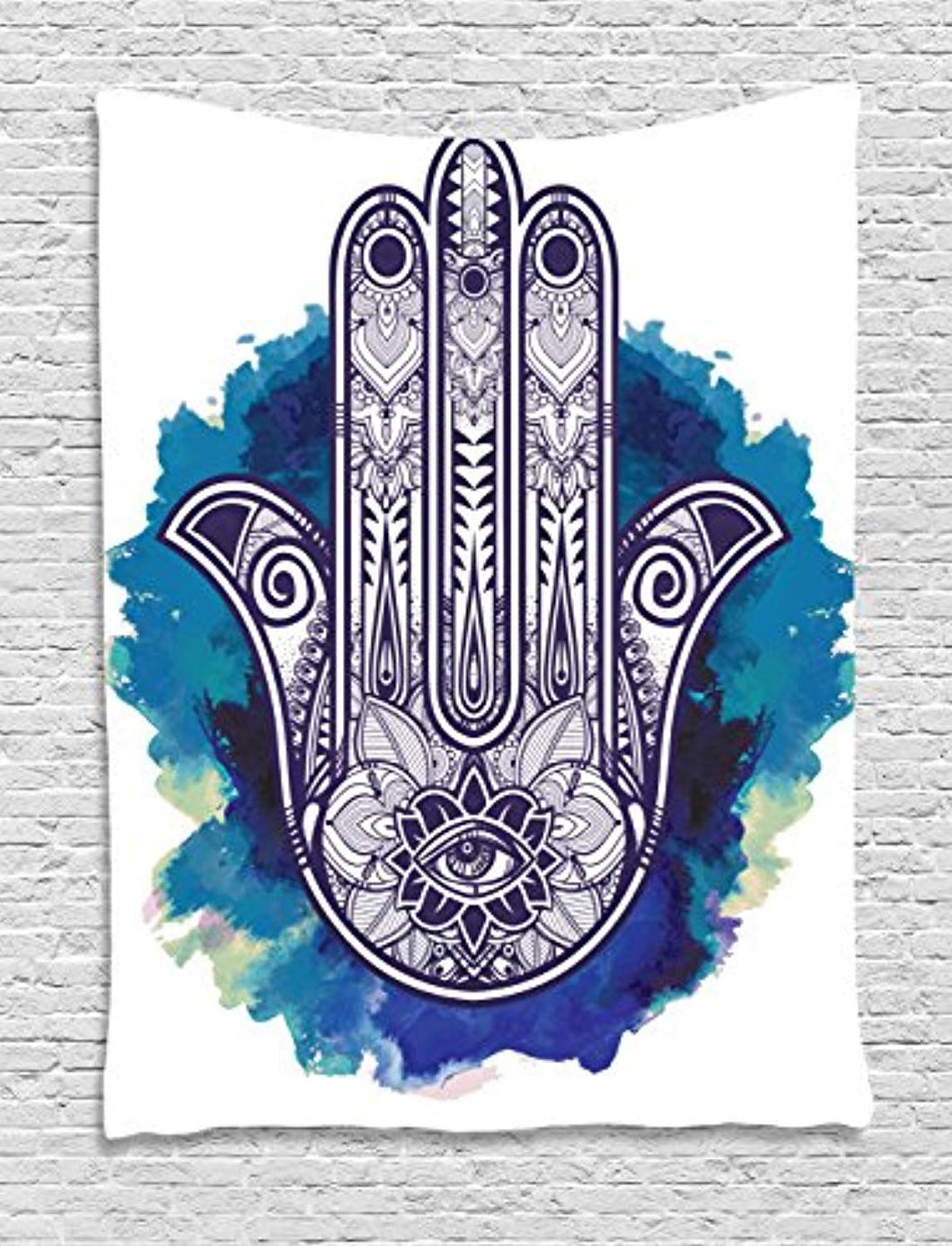 Black And Blue Hamsa Hand Tapestry