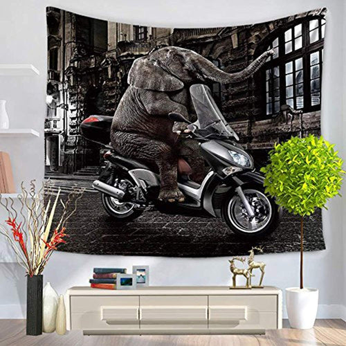 Elephant Riding A Motorcycle Décor Tapestry