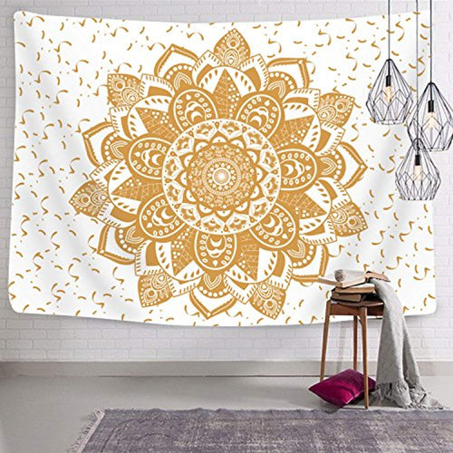 White And Gold Mandala Décor Tapestry