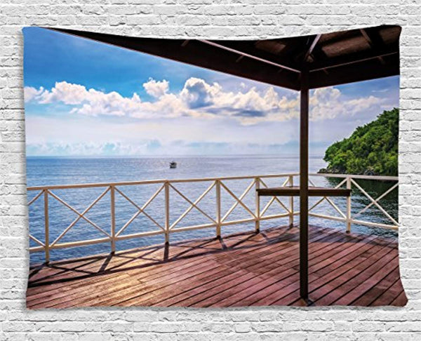 Ambesonne Modern Decor Tapestry, Balcony Porch Sea Ocean View in Trinidad and Tobago Island Tropic Photo Image, Wall Hanging for Bedroom Living Room Dorm, 80 W X 60 L Inches, Multicolor