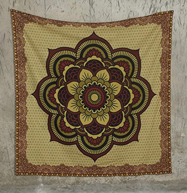 Red, Black And Yellow Floral Mandala Tapestry