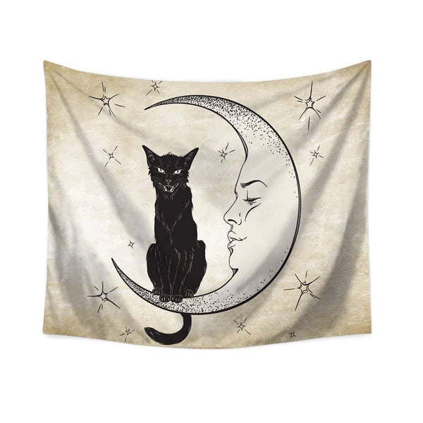 Moon And Black Cat Tapestry