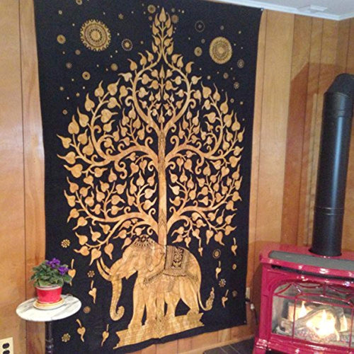 Royal Gold Elephant Under The Black Night Sky Décor Tapestry