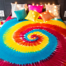 Hippie Tapestry Wall Hanging Bohemian Hippie Mandala Bedspread Indian Bedding for Bedroom College Dorm Room Home Decor or Beach Picnic Blanket - Spiral Tie Dye Queen Size Boho Gypsy Spread