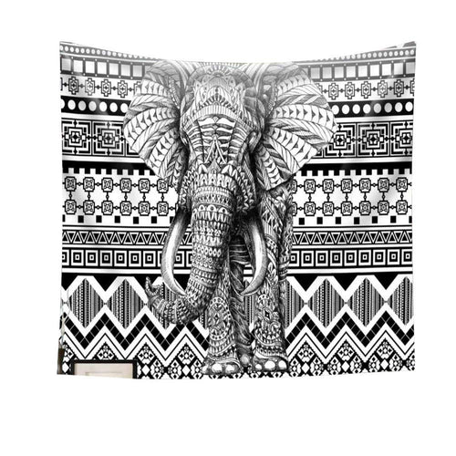Black And White Aztec Print Tapestry