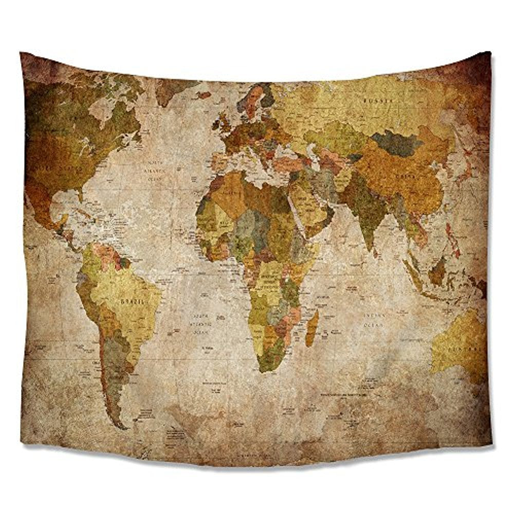 Antique Style World Map Tapestry