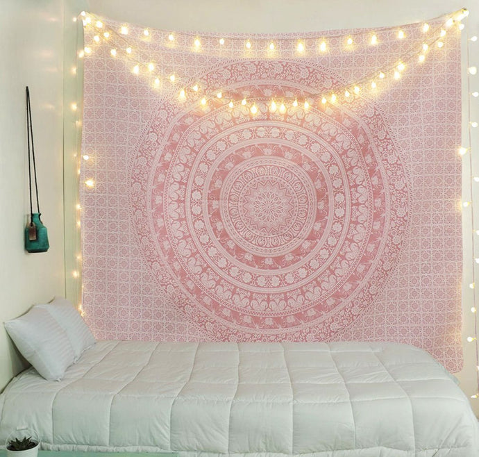 Sparkly Pink Ombre Elephant Mandala Tapestry