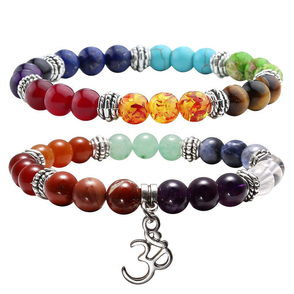 2pc 7 Chakras Yoga Meditation Healing Balancing Round Stone Beads Stretch Bracelet Set, with Gift Box,Valentines Gifts