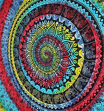 Psychedelic Mandala Tapestry Bohemian Elephant Hanging Tie Dye Tapestries Hippie Wall Decor Twin Size Bedding Pure Cotton Home Decorative Table Cloth Cover Perfect Gift Option