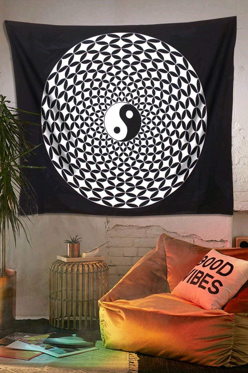 B&W Yin Yang Psychedelic Décor Tapestry