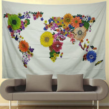 Floral World Map Print Tapestry