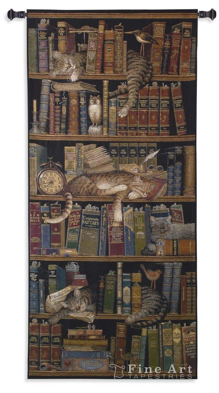 Bookcase And Cat Tapestry