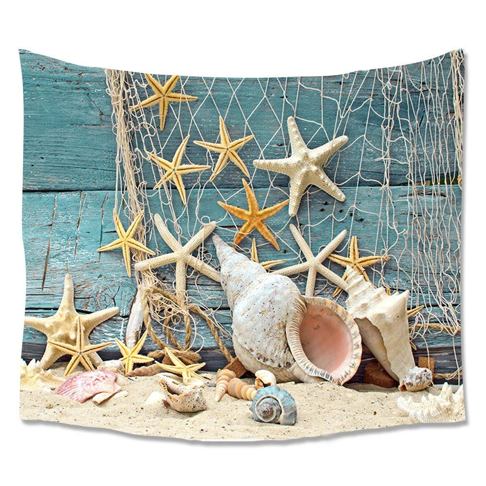 Beach Ocean Decor Throw Tapestry,Seashell Conch Starfish Fishing Nets Art Prints Wall Hanging Tapestries,Home Dorm Decor