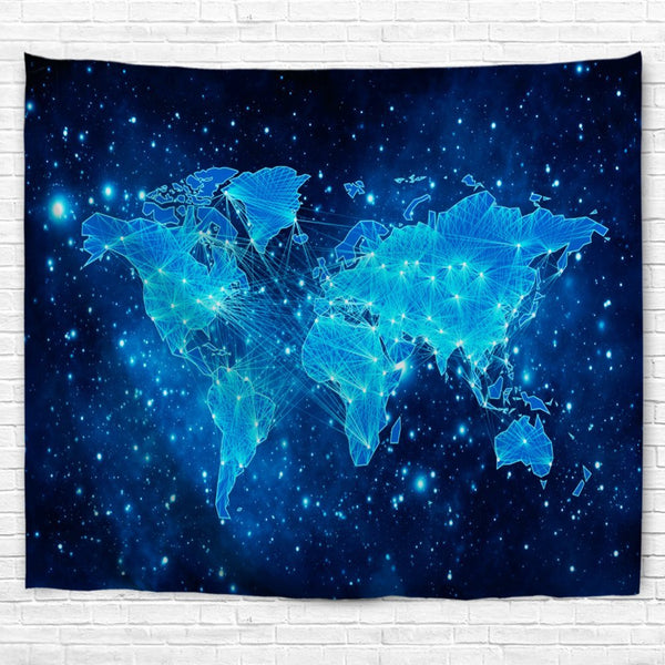 World Map Wall Tapestry, Space Nebula Galaxy Universe Star Wall Hanging for Bedroom Living Room Dorm , 70 x 90 Inch, Blue