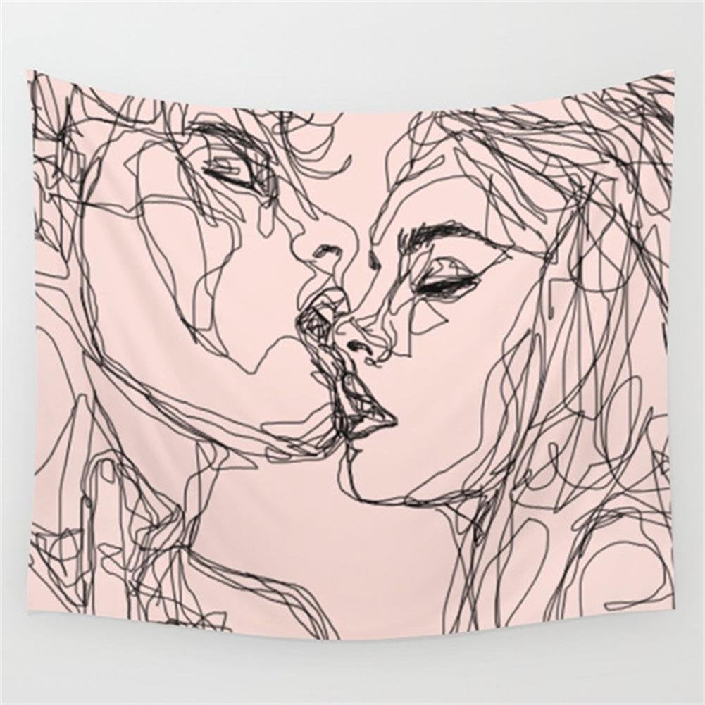 Man And Woman Kissing Tapestry