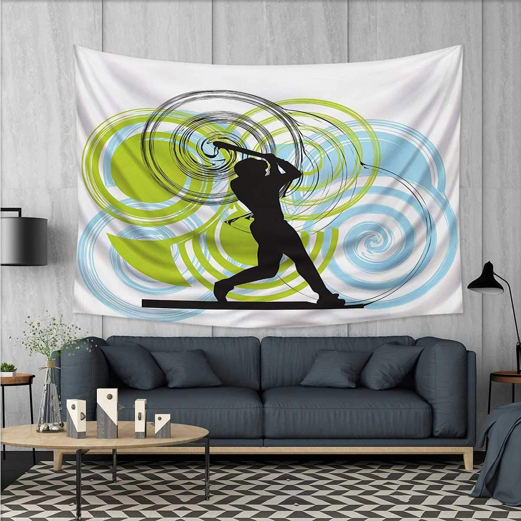 Baseball Player Hitting A Strike Tapestry