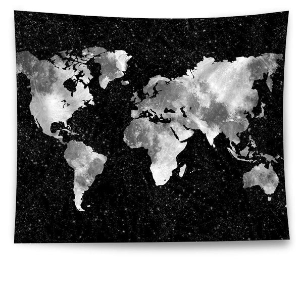 Starry Night Sky World Map Tapestry