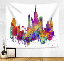 New York City Skyline Abstract Art Décor Tapestry