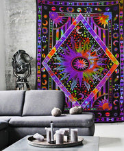 Psychedelic Tie Dye Sun And Moon Mandala Tapestry