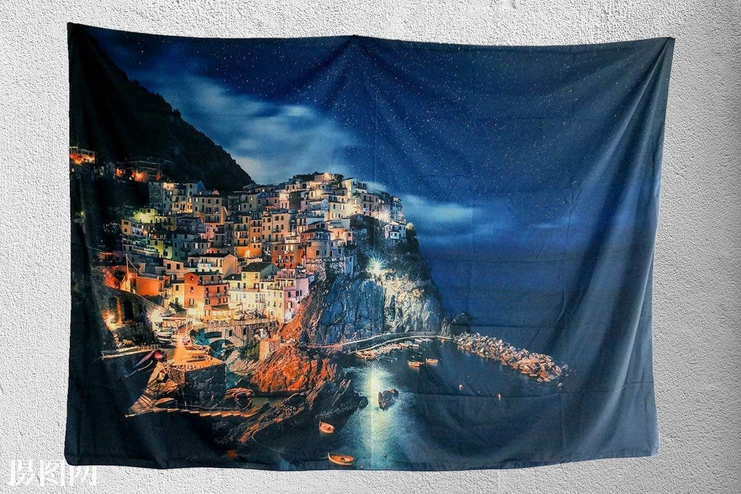 Beautiful City By The Sea At Night Tapestry