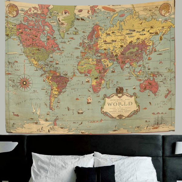 World Map Tapestry Wall Hanging Vintage Ancient Shabby Chic World Map Compass Wall Fabric Tapestry Throw Artwork Home Decoration for Living Room Bedroom Dorm 90x60 Inch