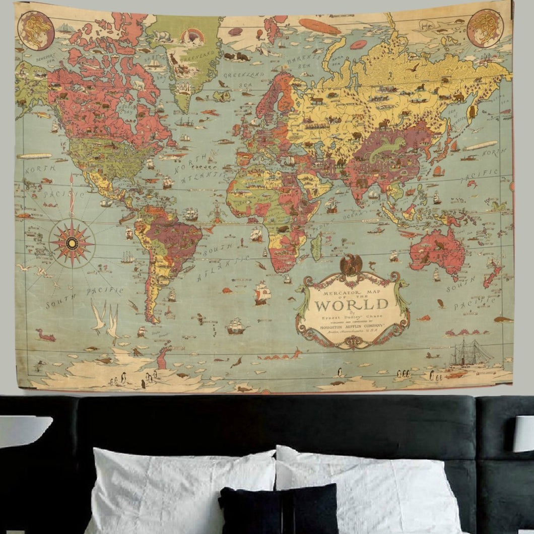 World Map Tapestry Wall Hanging Vintage Ancient Shabby Chic World Map  Compass Wall Fabric Tapestry Throw