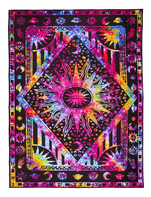 Psychedelic Sun And Moon Tapestry