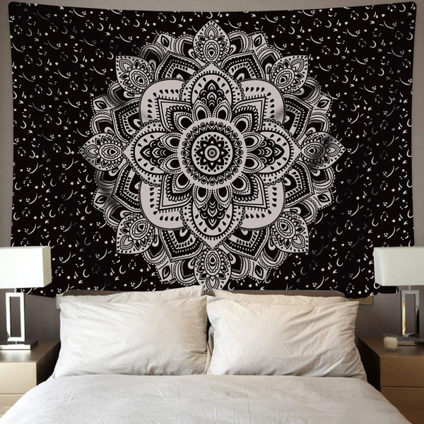 Black & White Circle Of Life Tapestry