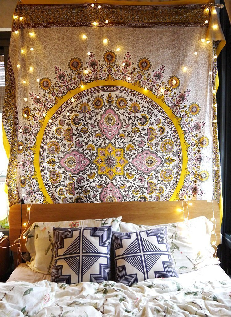 Gold Indian Headboard Sketched Floral Medallion Tapestry