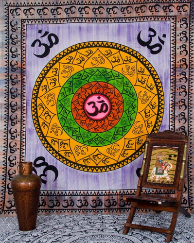 Om Lotus Hand Painted Mandala Wall Hanging Indian Tapestry Dorm Decor