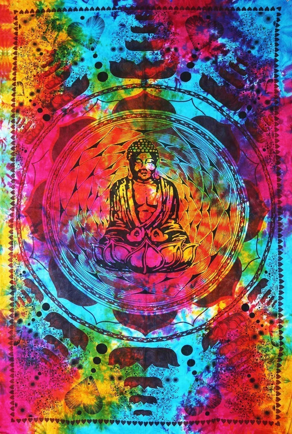 Hippie Mandala With Buddha Meditating Décor Tapestry