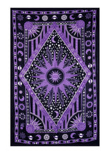 Purple Celestial Moon And Sun Tapestry