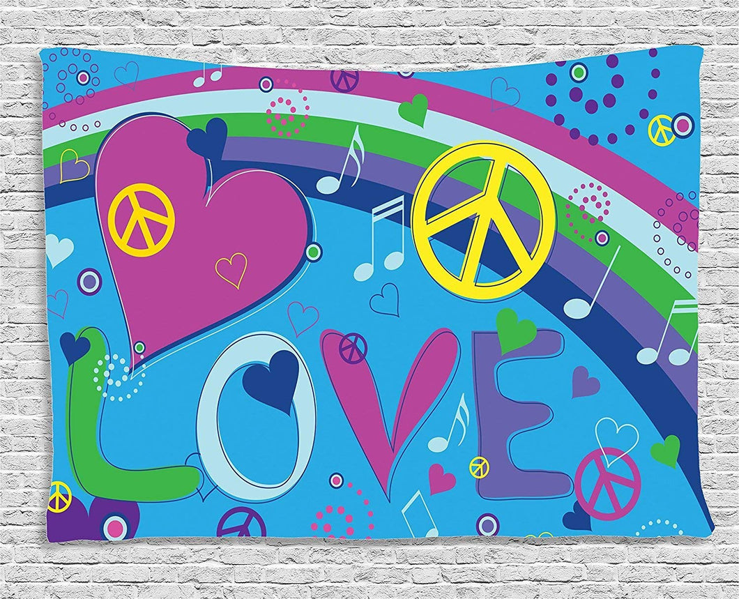 Peace Love Music Décor Tapestry