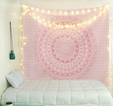 Pretty Rose Gold Mandala Tapestry