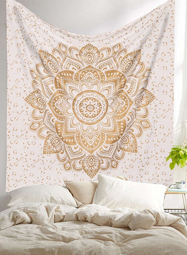 Golden Chakra Star Mandala Wall Tapestry
