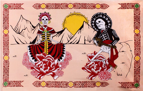 Sunshine Joy Mexican Day of the Dead Tapestry - 60x90 Inches - Beach Sheet - Hanging Wall Art
